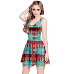 Architectural Abstract Pattern Reversible Sleeveless Dress