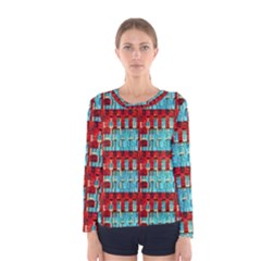 Architectural Abstract Pattern Women s Long Sleeve Tee