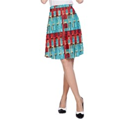 Architectural Abstract Pattern A-Line Skirt