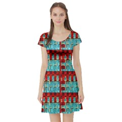 Architectural Abstract Pattern Short Sleeve Skater Dress