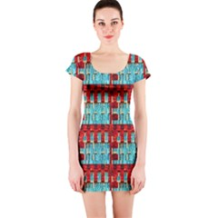 Architectural Abstract Pattern Short Sleeve Bodycon Dress