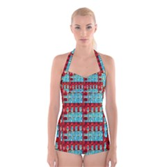 Architectural Abstract Pattern Boyleg Halter Swimsuit