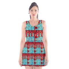 Architectural Abstract Pattern Scoop Neck Skater Dress