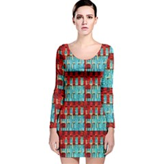 Architectural Abstract Pattern Long Sleeve Velvet Bodycon Dress