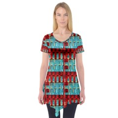 Architectural Abstract Pattern Short Sleeve Tunic