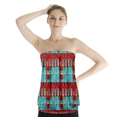 Architectural Abstract Pattern Strapless Top