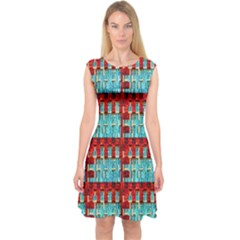 Architectural Abstract Pattern Capsleeve Midi Dress