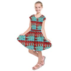 Architectural Abstract Pattern Kids  Short Sleeve Dress