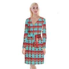 Architectural Abstract Pattern Long Sleeve Velvet Front Wrap Dress