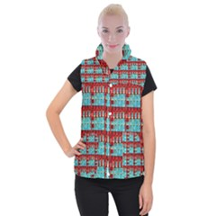 Architectural Abstract Pattern Women s Button Up Puffer Vest