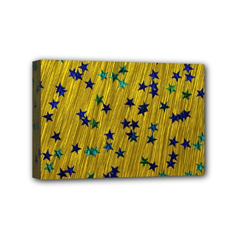 Abstract Gold Background With Blue Stars Mini Canvas 6  X 4