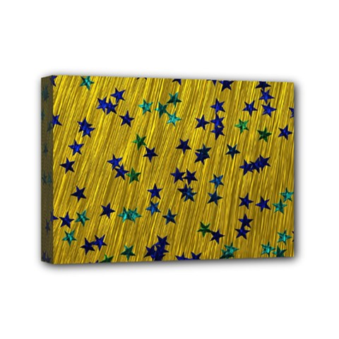 Abstract Gold Background With Blue Stars Mini Canvas 7  X 5