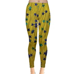 Abstract Gold Background With Blue Stars Leggings