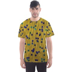 Abstract Gold Background With Blue Stars Men s Sport Mesh Tee