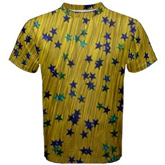Abstract Gold Background With Blue Stars Men s Cotton Tee