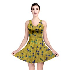 Abstract Gold Background With Blue Stars Reversible Skater Dress