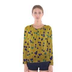 Abstract Gold Background With Blue Stars Women s Long Sleeve Tee