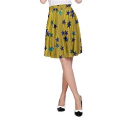 Abstract Gold Background With Blue Stars A-Line Skirt