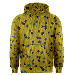 Abstract Gold Background With Blue Stars Men s Pullover Hoodie