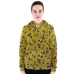 Abstract Gold Background With Blue Stars Women s Zipper Hoodie