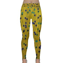 Abstract Gold Background With Blue Stars Classic Yoga Leggings