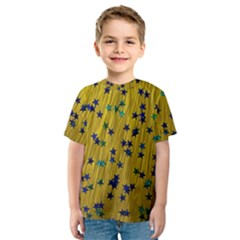 Abstract Gold Background With Blue Stars Kids  Sport Mesh Tee
