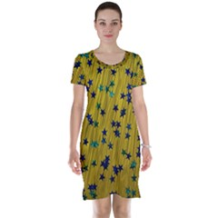 Abstract Gold Background With Blue Stars Short Sleeve Nightdress