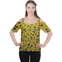 Abstract Gold Background With Blue Stars Women s Cutout Shoulder Tee