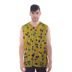 Abstract Gold Background With Blue Stars Men s Basketball Tank Top
