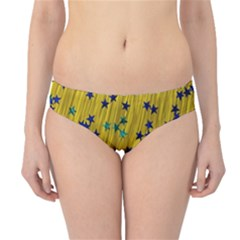 Abstract Gold Background With Blue Stars Hipster Bikini Bottoms