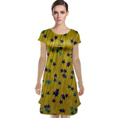 Abstract Gold Background With Blue Stars Cap Sleeve Nightdress