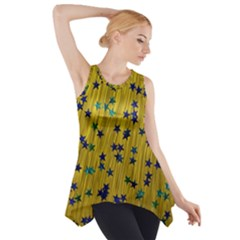 Abstract Gold Background With Blue Stars Side Drop Tank Tunic