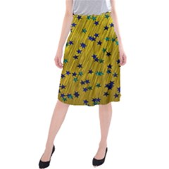 Abstract Gold Background With Blue Stars Midi Beach Skirt