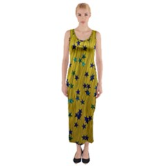 Abstract Gold Background With Blue Stars Fitted Maxi Dress