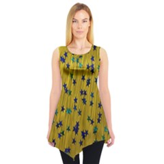 Abstract Gold Background With Blue Stars Sleeveless Tunic