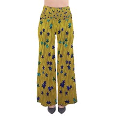 Abstract Gold Background With Blue Stars Pants