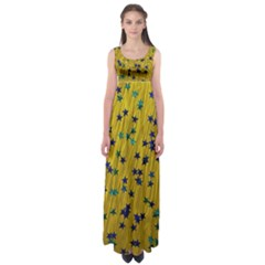 Abstract Gold Background With Blue Stars Empire Waist Maxi Dress