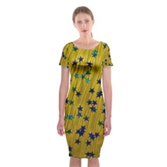 Abstract Gold Background With Blue Stars Classic Short Sleeve Midi Dress