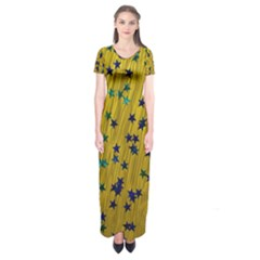 Abstract Gold Background With Blue Stars Short Sleeve Maxi Dress