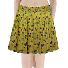 Abstract Gold Background With Blue Stars Pleated Mini Skirt