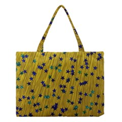 Abstract Gold Background With Blue Stars Medium Tote Bag
