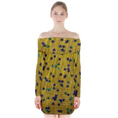 Abstract Gold Background With Blue Stars Long Sleeve Off Shoulder Dress
