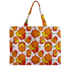 Colorful Stylized Floral Pattern Medium Tote Bag