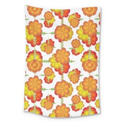 Colorful Stylized Floral Pattern Large Tapestry