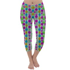 Wood And Flower Trees With Smiles Of Gold Capri Winter Leggings