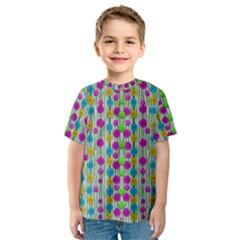 Wood And Flower Trees With Smiles Of Gold Kids  Sport Mesh Tee