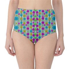 Wood And Flower Trees With Smiles Of Gold High Waist Bikini Bottoms