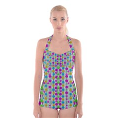 Wood And Flower Trees With Smiles Of Gold Boyleg Halter Swimsuit