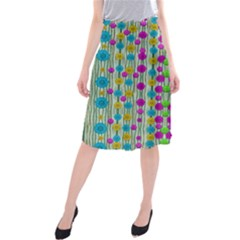 Wood And Flower Trees With Smiles Of Gold Midi Beach Skirt