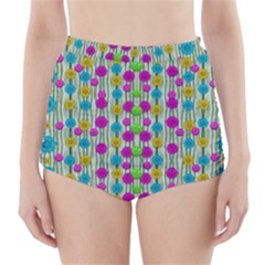 Wood And Flower Trees With Smiles Of Gold High-Waisted Bikini Bottoms